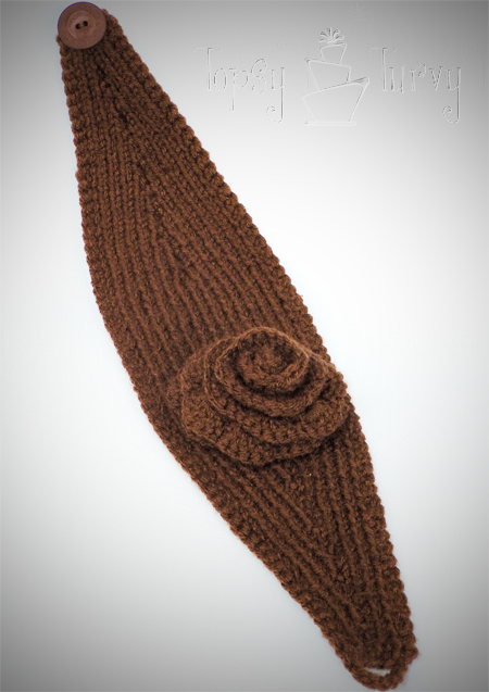 Knit Ear Warmer Pattern with Flower Crochet Ashlee Marie