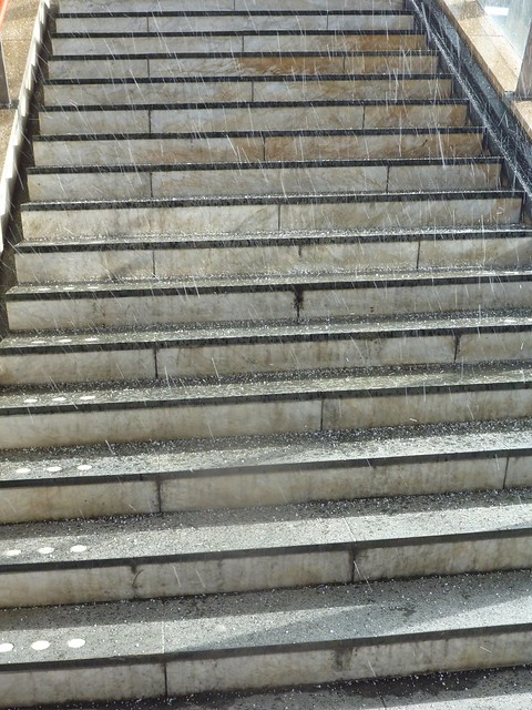 hailstorm on steps on a sunny day