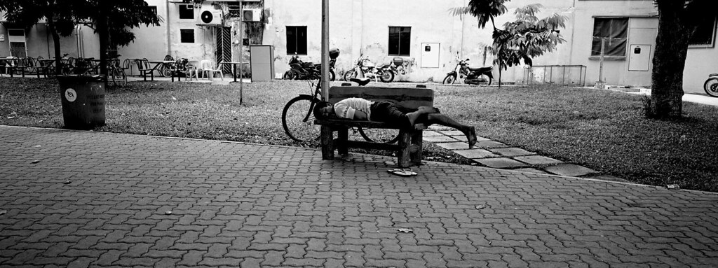 tired worker, singapore, 2004