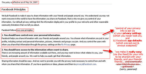 Facebook Core Principle(s): Share Your Info!