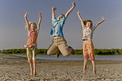 jump for joy (LuLu Taylor) Tags: beach sisters vineyard jump brother joy siblings marthasvineyard tashmoo