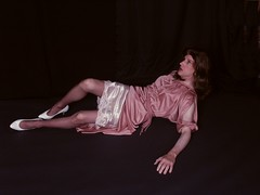 Horror movie 1 (LadeeAlana) Tags: vintage shiny highheels legs horror slinky crossdresser nylons onthefloor scaredtrannie