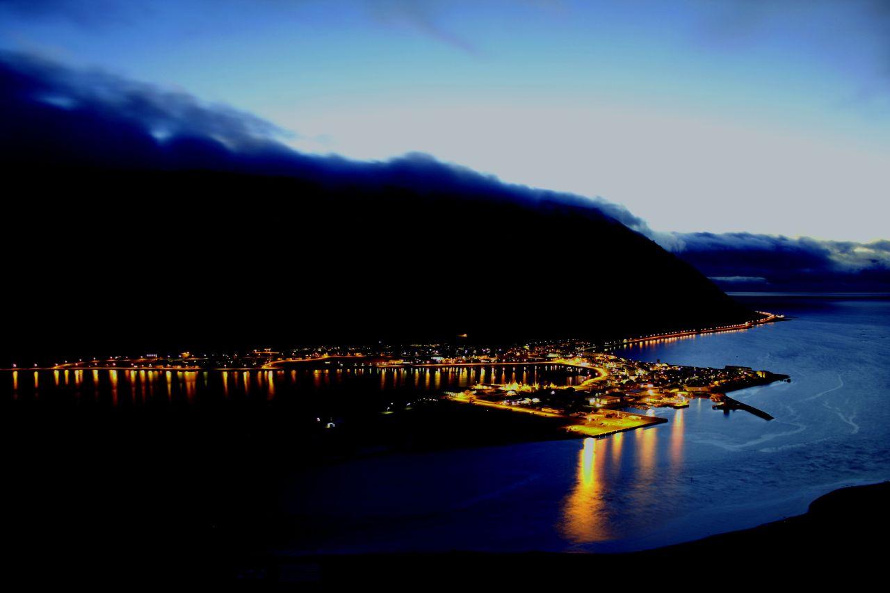 Ísafjörður at night