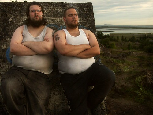 Two fat men. Alli and my ex-boyfriend, Kristján on the left.
