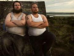 Two fat men (ljosberinn) Tags: smoke smoking reykjavík kristján öskjuhlíð wifebeater alli fenrir bigmen aðalsteinn ilikecomments krizzi