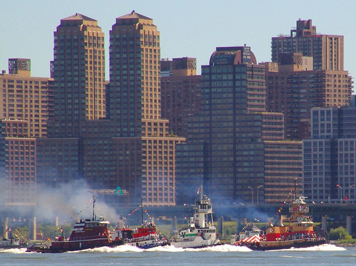 Tugboats Racing up the Hudson River