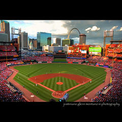 Saint Louis Cardinals Baseball Busch Stadium (j glenn montano 3) Tags: world city red saint birds st louis downtown arch baseball stadium glenn national missouri series stl budweiser hdr league montano busch cardinals pujols larussa justiniano