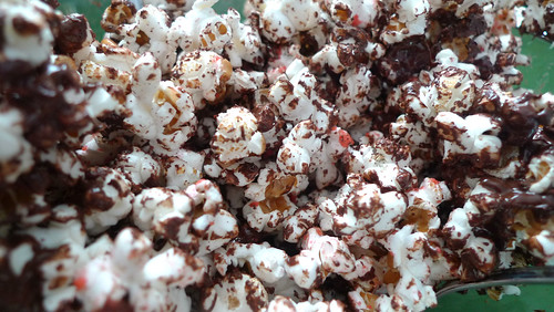 chocolate and pink popcorn