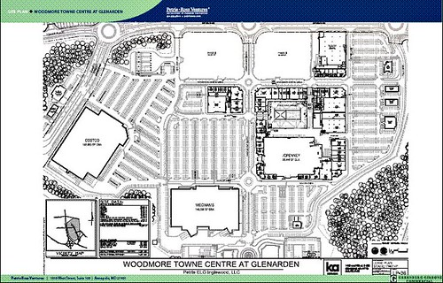 site plan: lots & lots of parking at Woodmore Towne Centre (via media package by Petrie Ross Ventures)