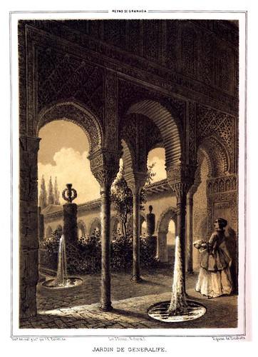 017-Jardin del Generalifa-Granada-Recuerdos y bellezas de España-Reino de Granada