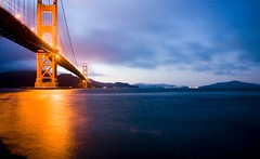Wide Angle Bridge (Thomas Hawk) Tags: sanfrancisco california city bridge sunset usa topf25 water night golden gate unitedstates fav50 10 unitedstatesofamerica fav20 goldengatebridge marinadistrict fav30 podtech fav10 fav25 photowalking fav40 fav60 scobleshow superfave photowalking1