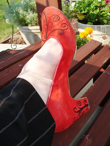thisisagame asked: I have a hard one for you. Horse shoe tattoos? Red Flamenco Shoes-Tattoo Style