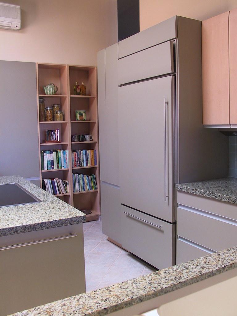 Refrigerator and Bookshelves