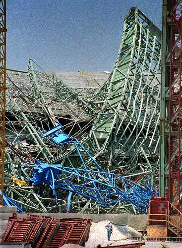 """big blue crane incident The crane's blue cab and white jib, itself a latticework of steel, made a direct hit   a victim of a crane collapse on the east side of manhattan was carried  lives at  860 united nations plaza, said: """"i heard this big double bang."""