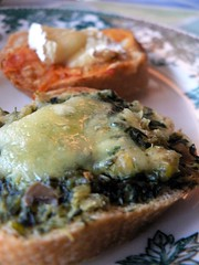 spinach and cheese on bread
