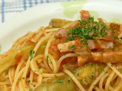 細切りナスのトマトソーススパゲティ