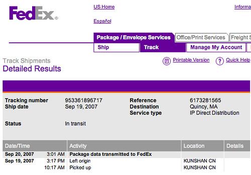 Fedex iPod shipment
