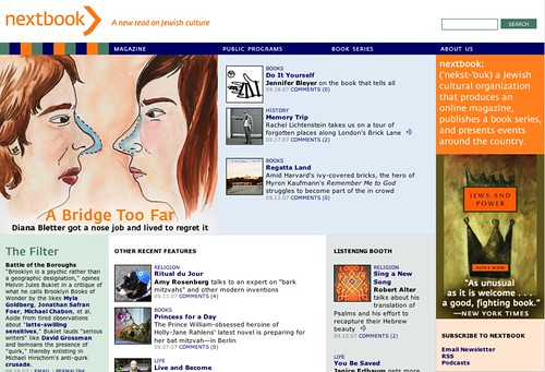 Nextbook.org home page, September 19, 2007