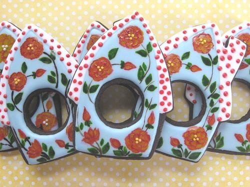 Birdhouse Cookies w/Handpainted Flowers