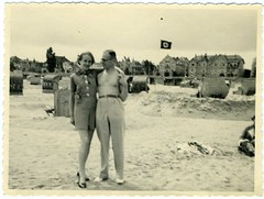 Snapshot: Prewar Germany---Happy Couple At The Beach (mrwaterslide) Tags: old beach vintage germany relax found coast play antique swastika balticsea baltic german northsea oldphoto vernacular avoid deny repress