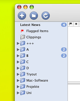 New folders in NetNewsWire