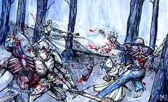 Los bosques de Therion (Jugo de Naranjo) Tags: night ink watercolor noche fight woods drawing zombie medieval fantasy bosque sword acuarela dibujo tinta espada