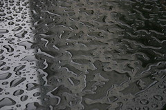 Rain Water Settled on Black Marble 2 (Melanie Jane - London) Tags: wet water shiny marble
