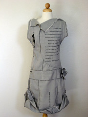 """dress/ object"" (front view) (katrinarodabaugh) Tags: art recycled handmade objects fabric dresses printmaking letterpress visualpoetry"