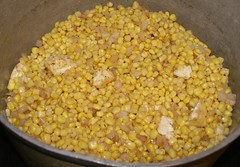 1.)  at the start, corn, onions, butter, oil, sugar, spices