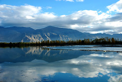 (divya babu) Tags: blue sky lake reflections tibet lhasa nikond80