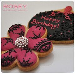 Birthday Cookies in Fuchsia Pink & Black Icing - Halloween (rosey sugar) Tags: birthday pink flowers party flower lace decoration royal icing piping royalicing sugarcraft decorativecookie