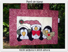 Pan Natalino Pinguins - VENDIDO (Bella Pata by Elisa) Tags: santa christmas cats dogs natal snowman buddies gato cachorro santaclaus papainoel applique ewe aplicao toalhas pingins patchcolagem puxasaco panodeprato arttoheart bellapata