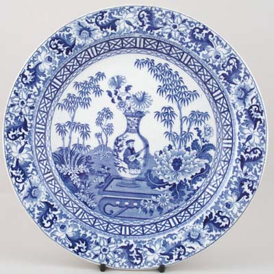 blue and white_wedgwood blue bamboo plate c1820