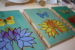Winged Blessing series (leavesandfeathers) Tags: butterfly turquoise teal lotusflower originalpaintings