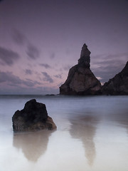 Sunrise at Ursa Beach (Miguel P) Tags: ocean sea seascape praia beach portugal water sunrise reflections mar twilight rocks europe waves sintra olympus nd hoya c8080 rochas cokin praiadaursa