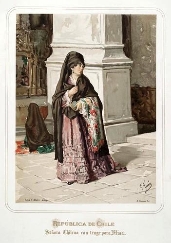 010-Republica de Chile-Señora chilena con traje para misa-Las Mujeres Españolas Portuguesas y Americanas 1876-Miguel Guijarro