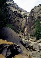 lower yosemite falls (Xuan Che) Tags: california travel autumn mountain film landscape nationalpark october kodak slide falls scan yosemite m42 pentacon sierranevada ektachrome e100vs worldheritage 2010 200mm voigtlanderbessaflex 4200mm