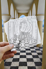 Pencil Vs Camera - 37 (Ben Heine) Tags: wallpaper inspiration game art sol architecture paper creativity energy king play hand floor modernart space main think loser perspective chess brain player queen greece intelligence illusion madness winner knight series win boardgame dame copyrights chevalier papier reflexion reine depth opticalillusion hold oia pawn fou clever hypnotic loose ajedrez jeu roi checkmate xadrez scacchi schach profondeur pion cerveau  theartistery szachy knotring hypnose skak satran benheine   drawingvsphotography flickrunited checetmat samsungimaging nx10 pencilvscamera imaginationvsreality ah