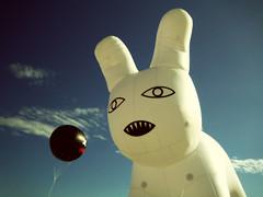 Jun 17 / IMG_5650 (tavopp) Tags: sky rabbit art beach clouds balloons florida conejo playa cielo