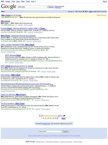 "Google Search Results for ""mike ciresi"" on 6/6/07"