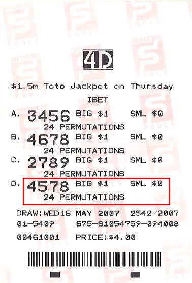 4D Prediction: 4578 - May 07