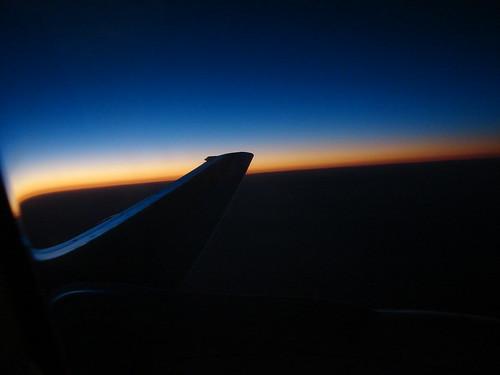 Por do sol de dentro do avião