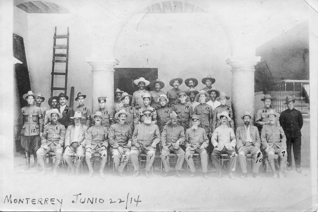 staff of Gen. Jesús Carranza, Monterrey, Mexico, 1914