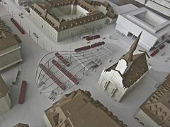 Der Bahnhofplatz im Modell, überdacht mit dem Baldachin