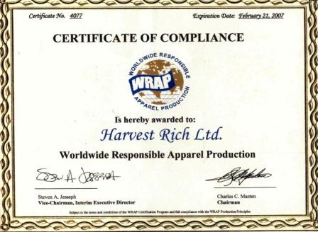 WRAP certificate of compliance to Harvest Rich