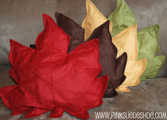 Fall Leaf Accent Pillows Pinksuedeshoe