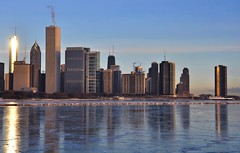 Frigid Chicago..... (Seth Oliver Photographic Art) Tags: chicago illinois nikon skyscrapers cityscapes lakemichigan trumptower sunrises southloop pinoy johnhancockbuilding chicagoskyline urbanscapes aonbuilding chicagoist d90 lakepointetower winterinchicago moderncities solidaritydrive aperturef110 frozenlakemichigan modernbulidings setholiver1 aeexposuremode 18105mmnikkorlens miidwest