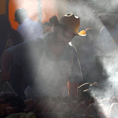 Arizona State Fair 2010 - Smoke, meat, man, & light (kevin dooley) Tags: carnival light arizona people man male guy cooking phoenix 50mm moments state smoke statefair 14 cook az fair bbq chef smokey barbeque candids cowboyhat carney 2010 carnie arizonastatefair bbque canpn 40d aplusphoto artistoftheyearlevel3 artistoftheyearlevel4 artistoftheyearlevel5 artistoftheyearlevel6