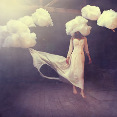 a breeze in the room (brookeshaden) Tags: sun girl clouds dress levitation warehouse float breeze brookeshaden texturebylesbrumes