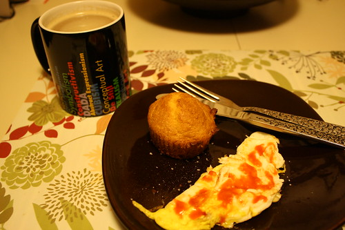 Breakfast on 11-9-10-coffee, fried egg, cornbread muffin